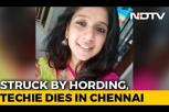 Techie hit by tanker as hoarding falls on her, dies