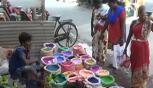 Women are interested in buying poultry powder at Pongal festival