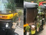 Akshay Kumar appraises the Auto rickshaw covered with plants
