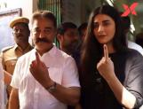 Kamal, Shruti Haasan wait after polling booth after EVM glitch!