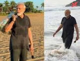 Pics of Narendra Modi picking up the plastic in Mamallapuram beach.