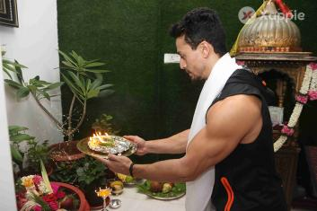 Jackie Shroff, and Tiger Shroff celebrate Ganesh Festival at home