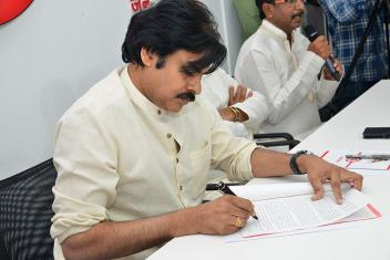 Janasena Chief Pawan Kalyan Interacts With Fisherman At Party Office
