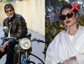 Rekha jokingly calls Amitabh Bachchan's picture Danger Zone while posing with Daboo Ratani.