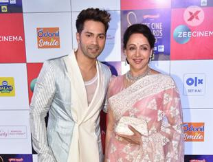 Varun Dhawan and Hema Malini at Zee Cine Awards 2019 in Mumbai