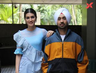 Diljit Dosanjh & Kriti Sanon for the promotions of Arjun Patiala at T Series office