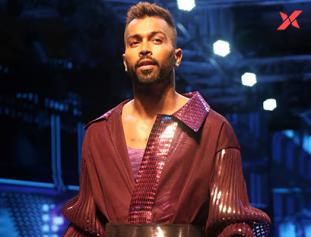 Hardik Pandya at Lakme Fashion Week dress by Amit Aggarwal
