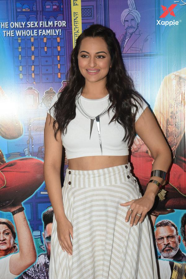 Sonakshi Sinha for the promotions of film Khandaani Shafakhana at Tseries office