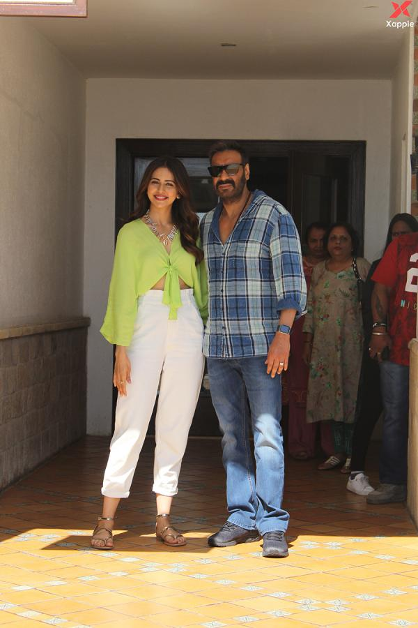 Ajay Devgan & Rakul Preet Singh during the promotions of film De De Pyaar De at Sun n Sand in Juhu
