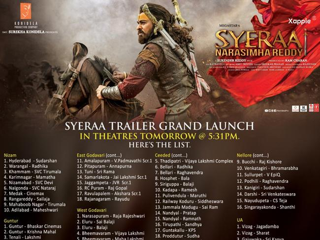 Experience the trailer of Sye Raa on big screens across the Telugu states!
