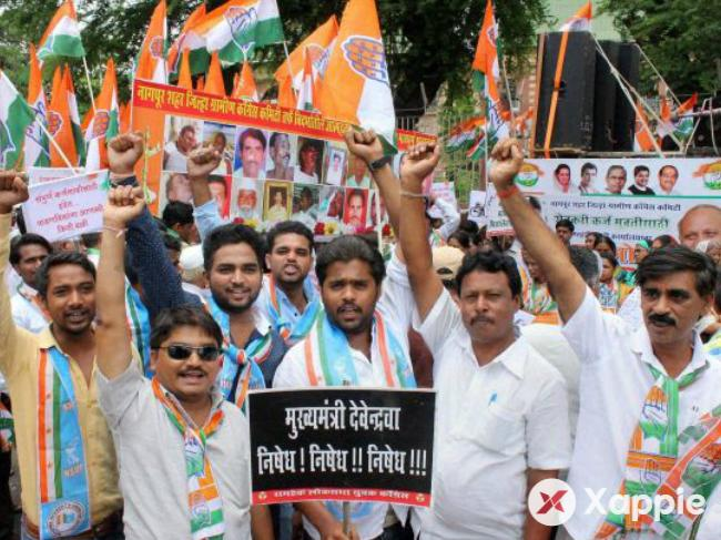 Congress workers protests against defeat in trust vote motion