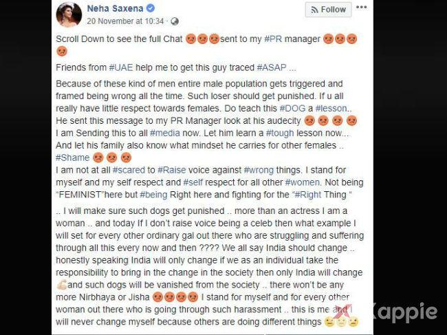 #MeToo: Neha Saxena gives an epic reply to a man who asked for a one night stand