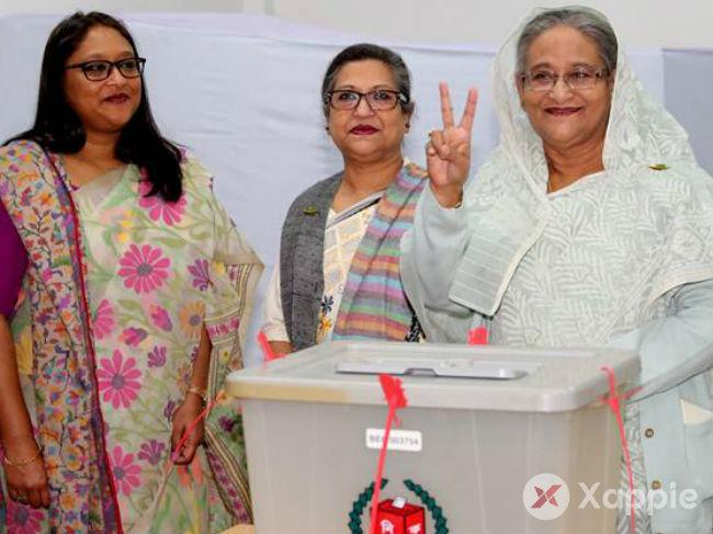 Bangladesh general elections 2018, PM Sheikh Hasina was the first voter at Dhaka City college