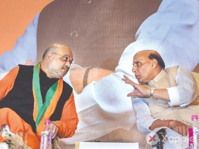 Amit Shah and Rajnath Singh launch the crowd sourcing drive for manifesto