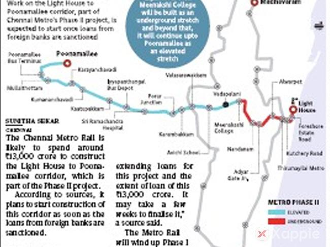 Poonamallee Metro-Light House stretch to cost Rs.13,000 crore