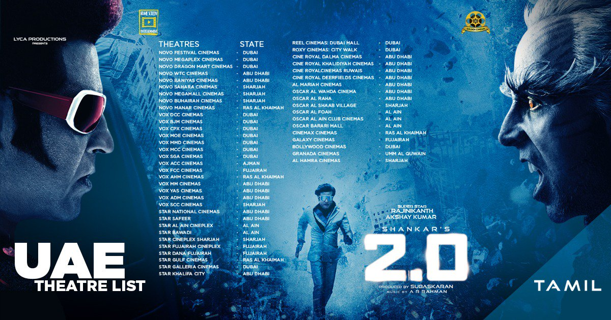 2.0 Showtimes in United Arab Emirates