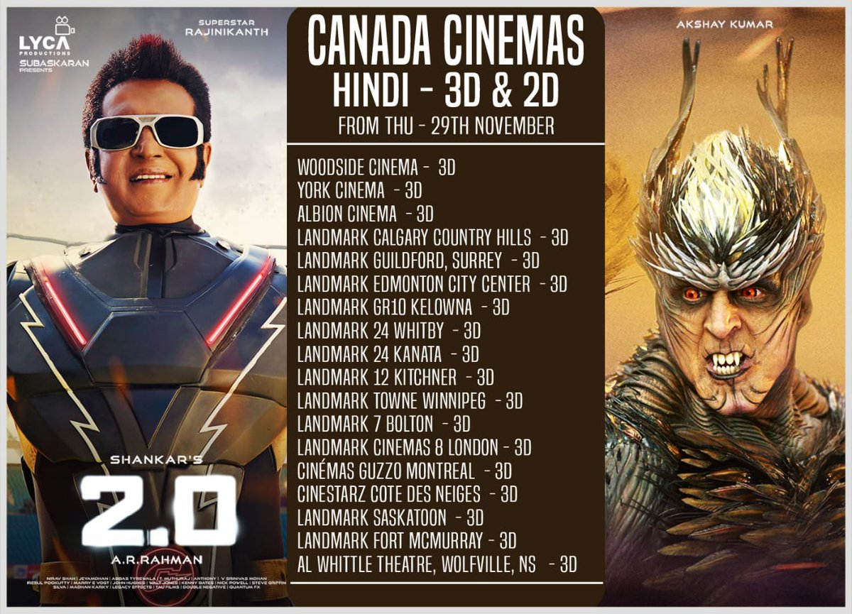 2.0 Showtimes in Canada