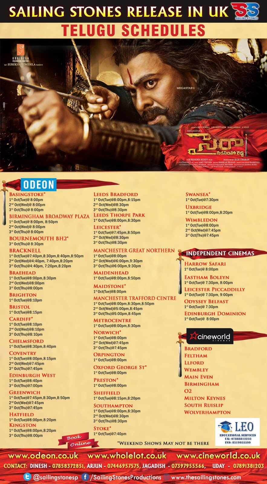 Sye Raa Narasimha Reddy Showtimes in United Kingdom