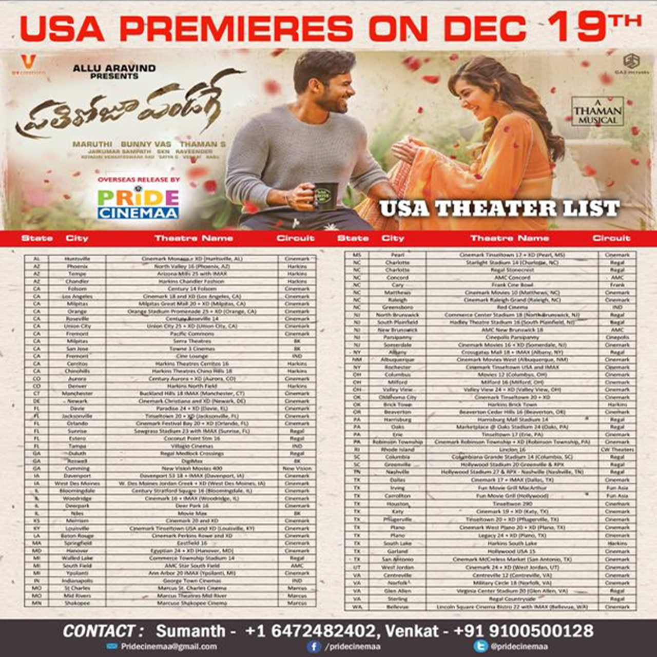 Prati Roju Pandage Showtimes in US