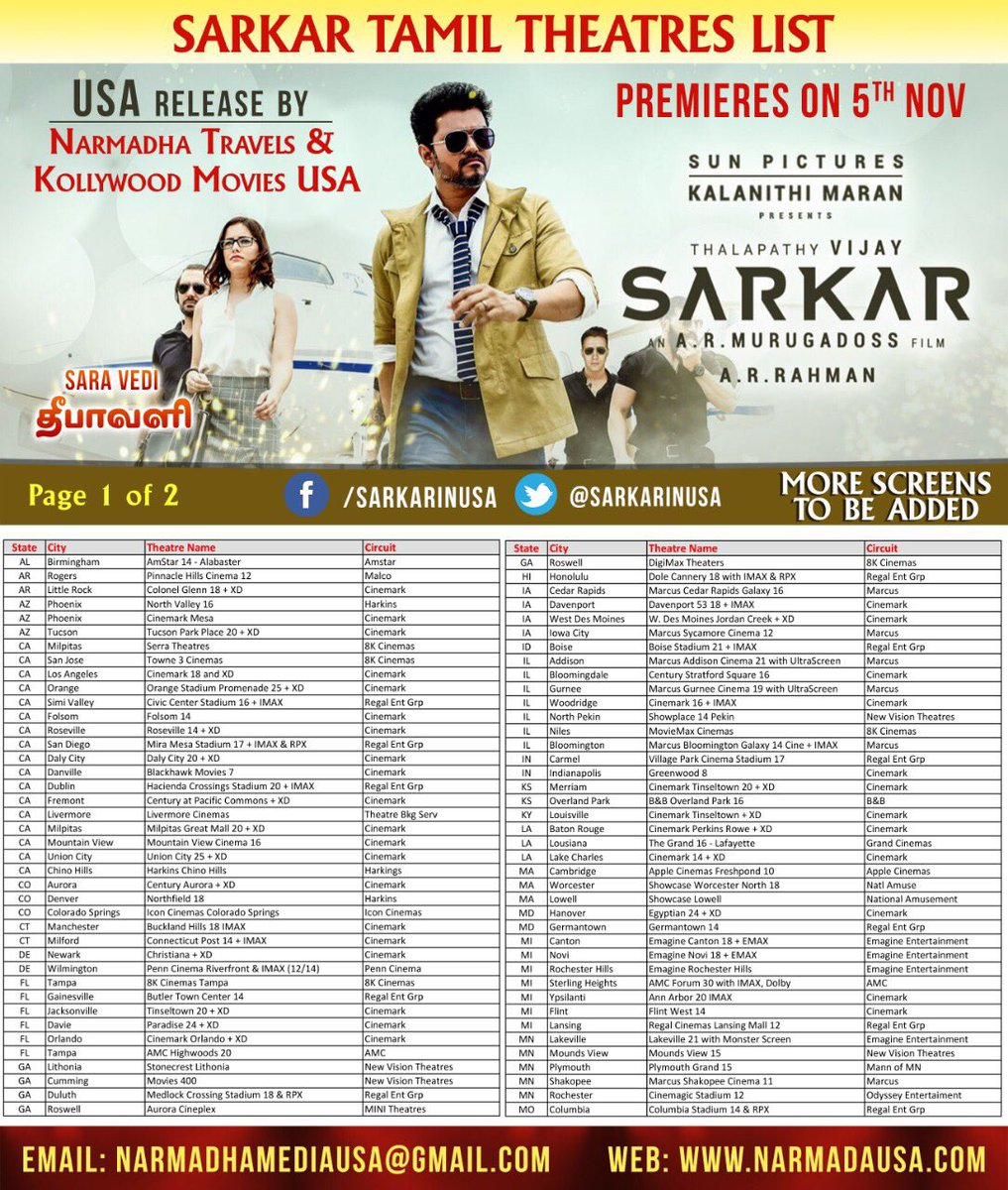 Sarkar Showtimes in US