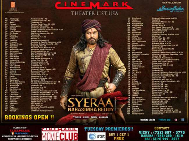 Sye Raa Narasimha Reddy Showtimes in US